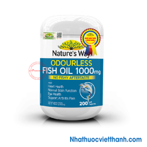 Nature's Way Odourless Fish Oil 1000mg - Bổ sung Omega, DHA & EPA