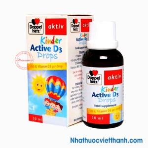 DoppelHerz Kinder Active D3 Drops - Giúp xương chắc khỏe, tăng cường khả năng miễn dịch cho bé.